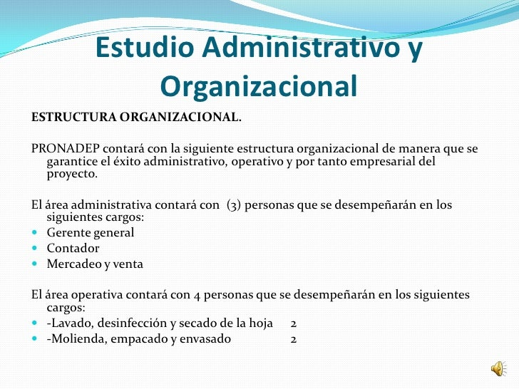Estudio Administrativo y               OrganizacionalESTRUCTURA ORGANIZACIONAL.PRONADEP contará con la siguiente estructur...