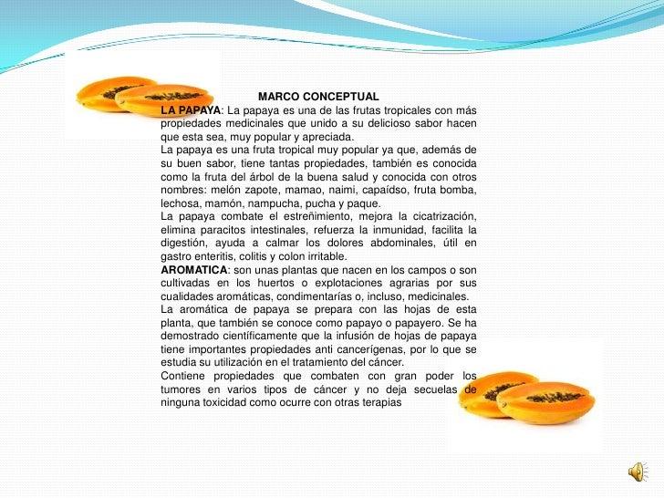 MARCO CONCEPTUALLA PAPAYA: La papaya es una de las frutas tropicales con máspropiedades medicinales que unido a su delicio...