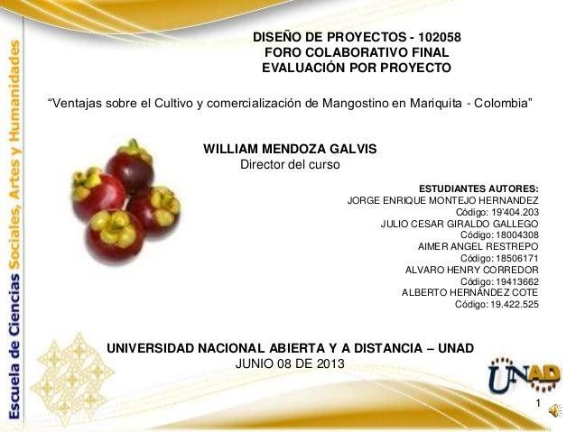 """""""Ventajas sobre el Cultivo y comercialización de Mangostino en Mariquita - Colombia""""WILLIAM MENDOZA GALVISDirector del cur..."""