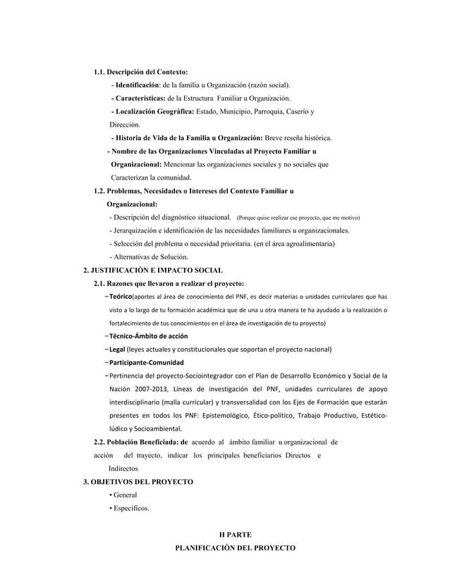 1.1. Descripción del Contexto:- Identificación: de la familia u Organización (razón social).- Características: de la Estru...