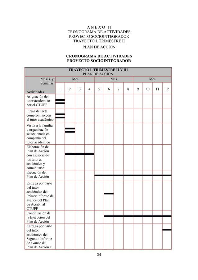 25CTUPFFUENTE: CTUPF (2010)A N E X O ICRONOGRAMA DE ACTIVIDADESPROYECTO SOCIOINTEGRADORTRAYECTO I. TRIMESTRE IIIEJECUCION,...