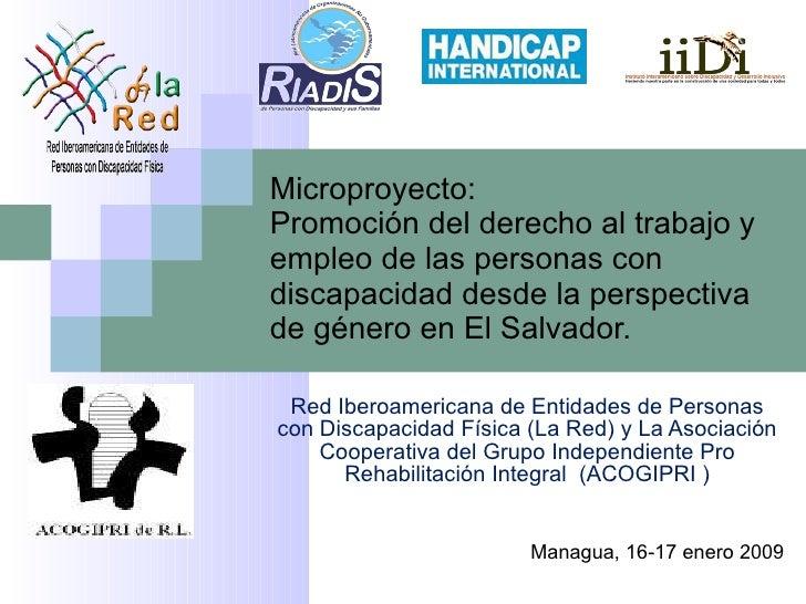 Red Iberoamericana de Entidades de Personas con Discapacidad Física (La Red) y La Asociación Cooperativa del Grupo Indepen...