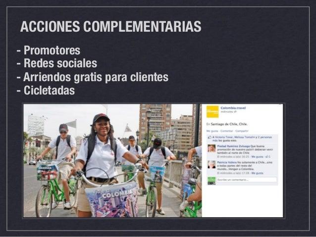 ACCIONES COMPLEMENTARIAS  - Promotores  - Redes sociales  - Arriendos gratis para clientes  - Cicletadas