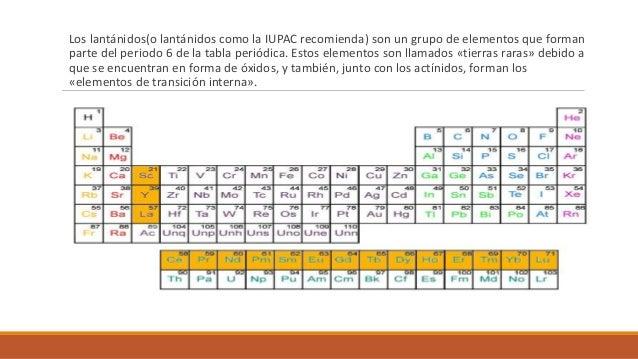 metales de transicin interna lantnidos y actinidos tierras raras - Tabla Periodica Metales De Transicion Interna