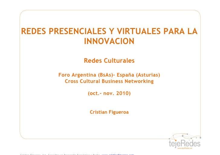 REDES PRESENCIALES Y VIRTUALES PARA LA              INNOVACION                    Redes Culturales          Foro Argentina...