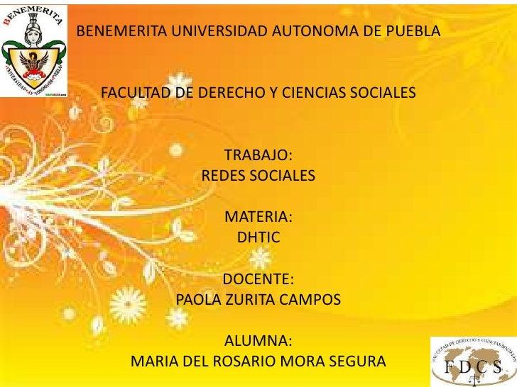 BENEMERITA UNIVERSIDAD AUTONOMA DE PUEBLA  FACULTAD DE DERECHO Y CIENCIAS SOCIALES                TRABAJO:              RE...