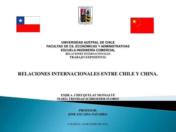 UNIVERSIDAD AUSTRAL DE CHILE<br />FACULTAD DE CS. ECONÓMICAS Y ADMINISTRATIVAS<br />ESCUELA INGENIERÍA COMERCIAL<br />RELA...