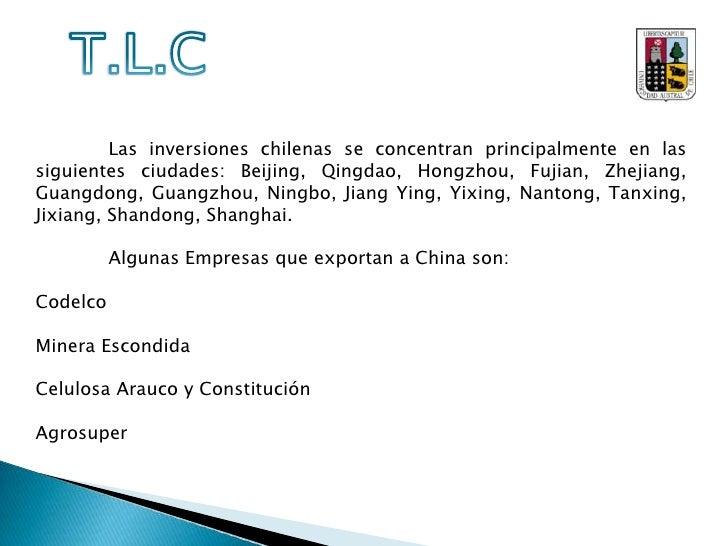 T.L.C<br />Fuente: ProChile, sobre información de Oficina Nacional de Aduana<br />