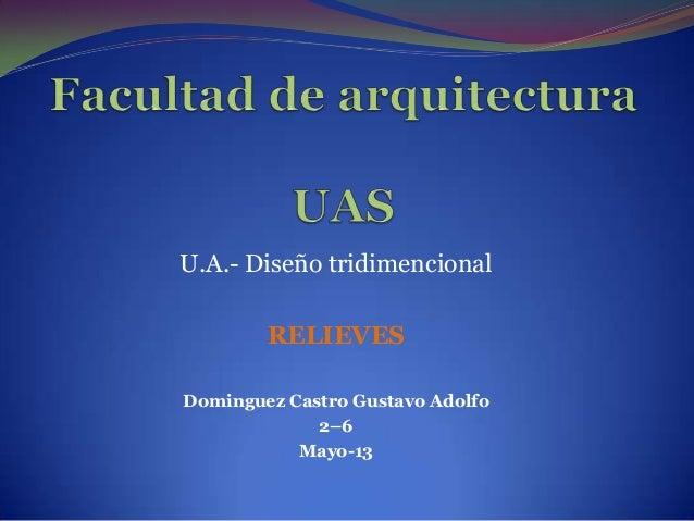 U.A.- Diseño tridimencionalRELIEVESDominguez Castro Gustavo Adolfo2–6Mayo-13