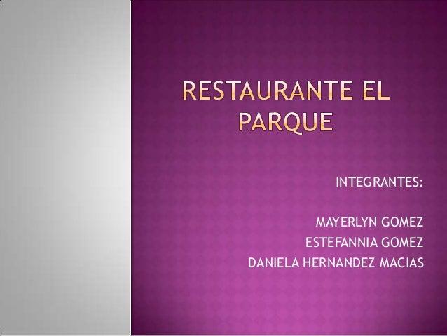 INTEGRANTES: MAYERLYN GOMEZ ESTEFANNIA GOMEZ DANIELA HERNANDEZ MACIAS