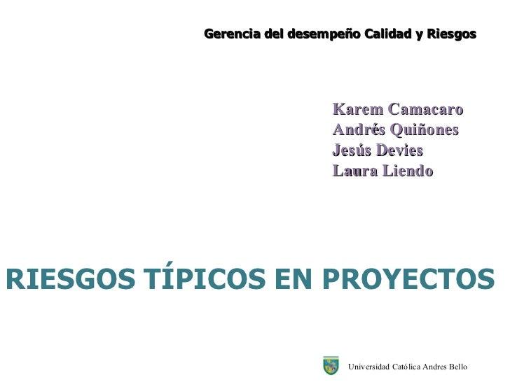 RIESGOS TÍPICOS EN PROYECTOS Gerencia del desempeño Calidad y Riesgos Universidad Católica Andres Bello Karem Camacaro  An...