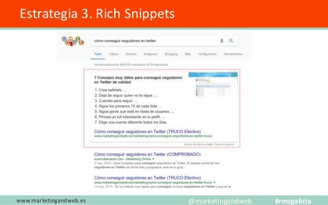 www.marketingandweb.es @marketingandweb #rmcgalicia Estrategia 4. Artículos 0 tráfico orgánico ¿Qué podemos hacer con esto...