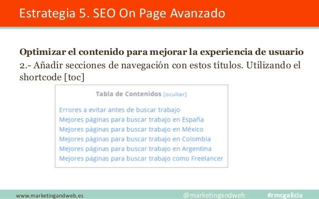 Estrategia 5. SEO On Page Avanzado Optimizar el contenido para mejorar la experiencia de usuario 3.- Plugin Table Content ...