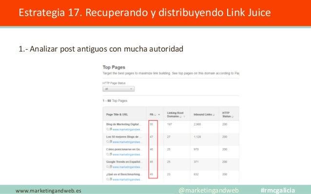 Estrategia 17. Recuperando y distribuyendo Link Juice 2.- Buscar un post de tipo rankings; ejemplo un post de herramientas...