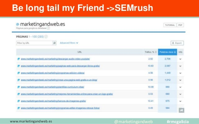 www.marketingandweb.es Be long tail my Friend -> Ahrefs @marketingandweb #rmcgalicia