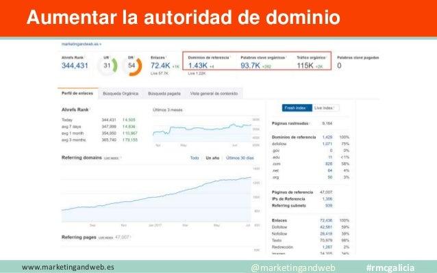 www.marketingandweb.es Aumentar la autoridad de dominio @marketingandweb #rmcgalicia