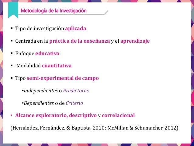  Tipo de investigación aplicada  Centrada en la práctica de la enseñanza y el aprendizaje  Enfoque educativo  Modalida...