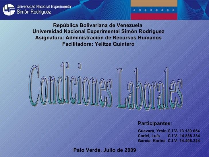 República Bolivariana de Venezuela Universidad Nacional Experimental Simón Rodríguez  Asignatura: Administración de Recurs...