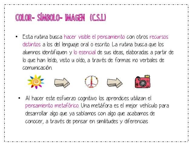 APLICACIÓN: ¿Dónde y cuándo utilizarse?  COLOR- SÍMBOLO- IMAGEN (C.S.I.)  • Esta rutina puede ser utilizada para realzar l...