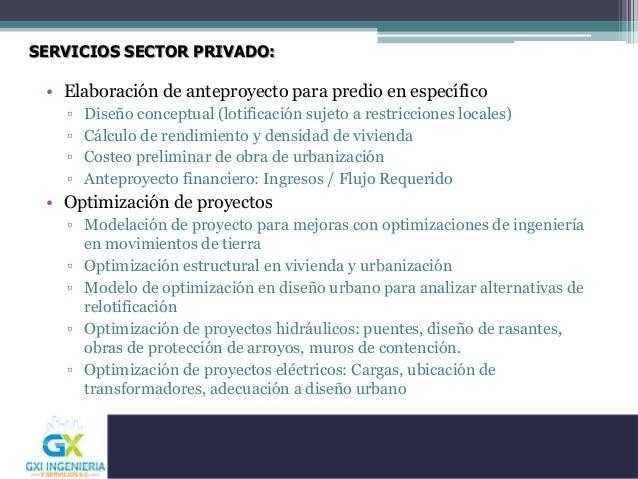 SERVICIOS SECTOR PRIVADO: • Elaboración de anteproyecto para predio en específico ▫ Diseño conceptual (lotificación sujeto...