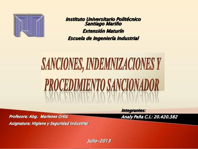 Instituto Universitario Politécnico Santiago Mariño Extensión Maturín Escuela de Ingeniería Industrial  Integrantes: Analy...