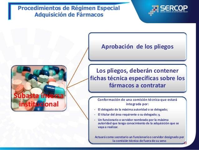 Procedimientos de Régimen Especial Adquisición de Fármacos