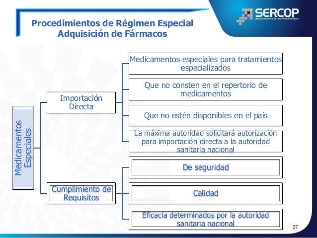Procedimientos de Régimen Especial Seguridad Interna y Externa  Las contrataciones de bienes, servicios y obras incluidos ...