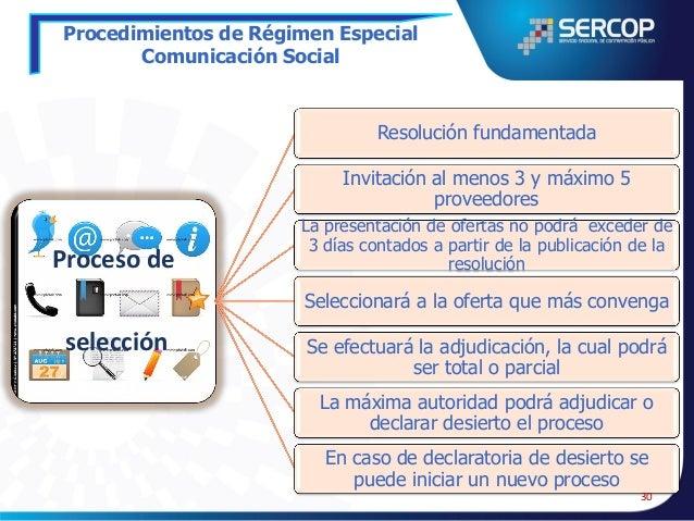 Procedimientos de Régimen Especial Comunicación Social  Resolución fundamentada Invitación se efectuará al proveedor selec...