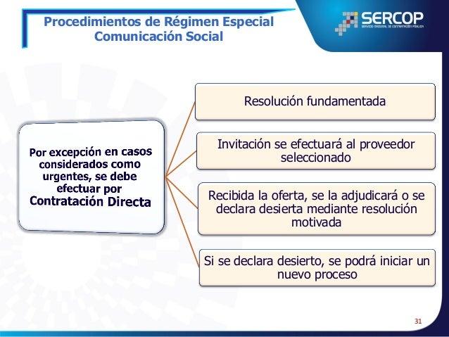 Procedimientos de Régimen Especial Comunicación Social  Sondeos de opinión  Estudios para formulación de estrategias comun...