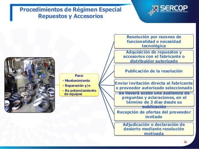 Procedimientos de Régimen Especial Bienes y Servicios Únicos en el Mercado o Proveedor Único  Bienes o servicios únicos en...
