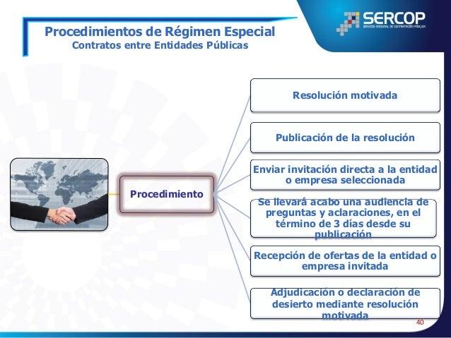 Procedimientos de Régimen Especial  Instituciones Financieras y de Seguros del Estado  • Que celebren la instituciones fin...