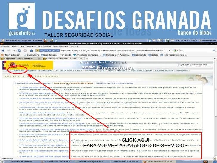 TALLER SEGURIDAD SOCIAL CLICK AQUI PARA VOLVER A CATALOGO DE SERVICIOS