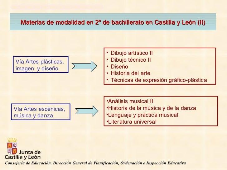 Materias de modalidad en 2º de bachillerato en Castilla y León (II) <ul><li>Dibujo artístico II </li></ul><ul><li>Dibujo t...