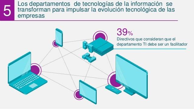 Directivos que consideran que el 39% departamento TI debe ser un facilitador 5 Los departamentos de tecnologías de la info...