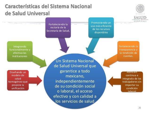 Características del Sistema Nacional de Salud Universal Un Sistema Nacional de Salud Universal que garantice a todo mexica...