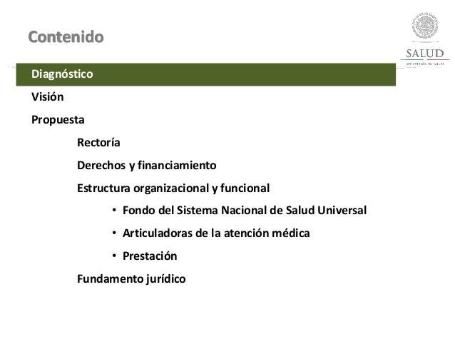 Contenido Diagnóstico Visión Propuesta Rectoría Derechos y financiamiento Estructura organizacional y funcional • Fondo de...