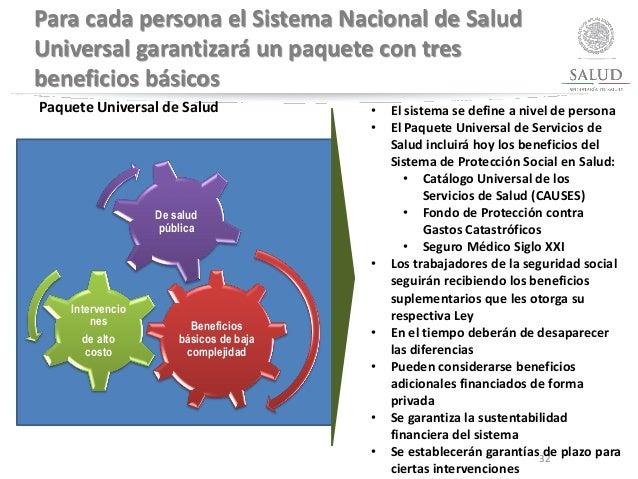 Para cada persona el Sistema Nacional de Salud Universal garantizará un paquete con tres beneficios básicos Beneficios bás...