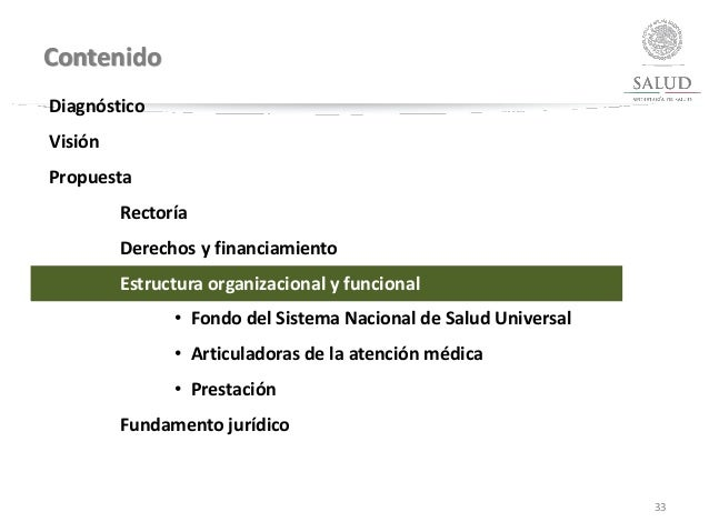 Contenido 33 Diagnóstico Visión Propuesta Rectoría Derechos y financiamiento Estructura organizacional y funcional • Fondo...