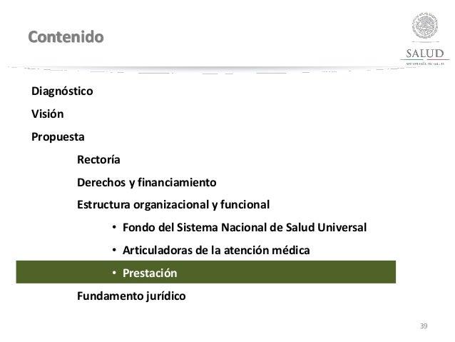 Contenido 39 Diagnóstico Visión Propuesta Rectoría Derechos y financiamiento Estructura organizacional y funcional • Fondo...