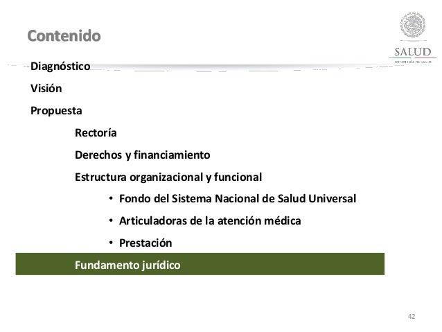 Contenido 42 Diagnóstico Visión Propuesta Rectoría Derechos y financiamiento Estructura organizacional y funcional • Fondo...