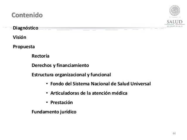 Contenido 44 Diagnóstico Visión Propuesta Rectoría Derechos y financiamiento Estructura organizacional y funcional • Fondo...