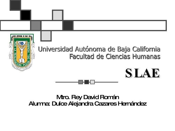 Universidad Autónoma de Baja California Facultad de Ciencias Humanas SLAE Mtro. Rey David Román Alumna: Dulce Alejandra Ca...