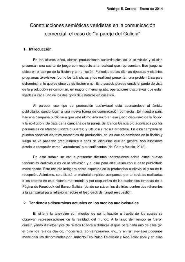 """Rodrigo E. Cerone - Enero de 2014  Construcciones semióticas veridistas en la comunicación comercial: el caso de """"la parej..."""