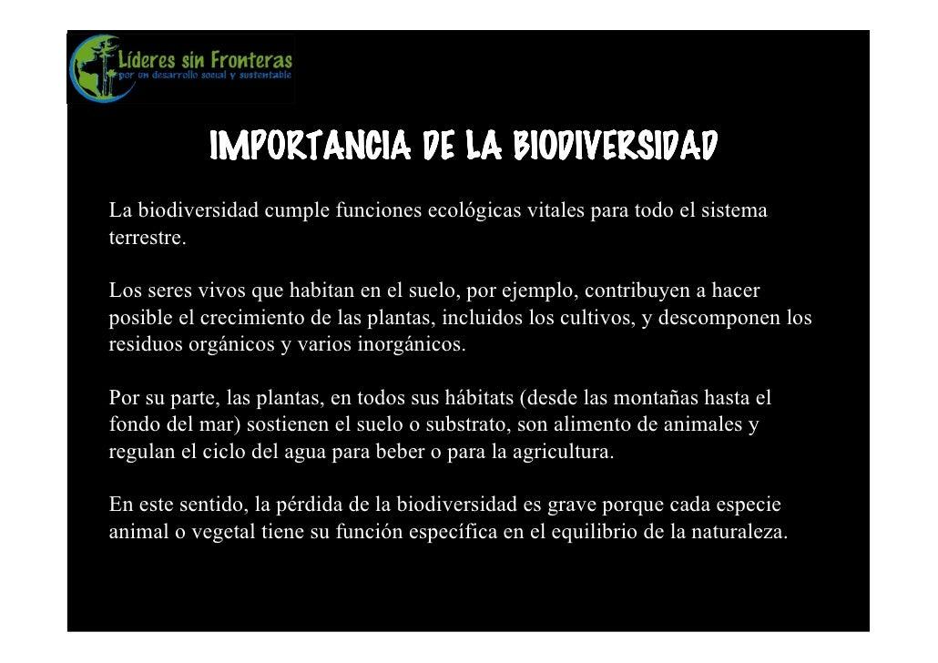 IMPORTANCIA DE LA BIODIVERSIDAD La biodiversidad cumple funciones ecológicas vitales para todo el sistema terrestre.  Los ...