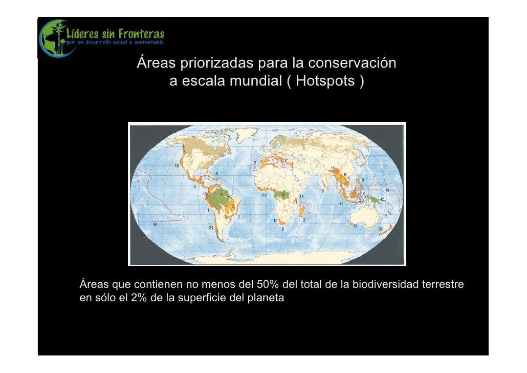 Áreas priorizadas para la conservación                a escala mundial ( Hotspots )     Áreas que contienen no menos del 5...