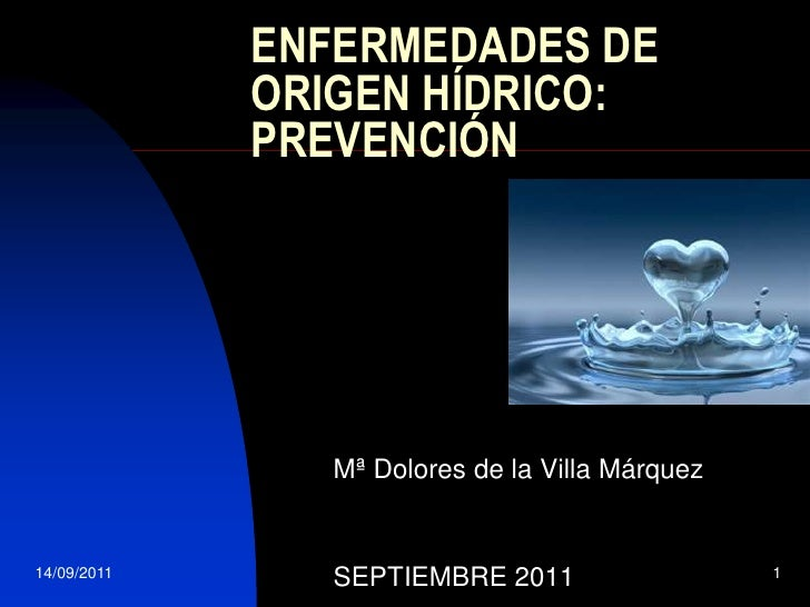 14/09/2011<br />1<br />ENFERMEDADES DE ORIGEN HÍDRICO: PREVENCIÓN<br />Mª Dolores de la Villa Márquez<br />SEPTIEMBRE 2011...