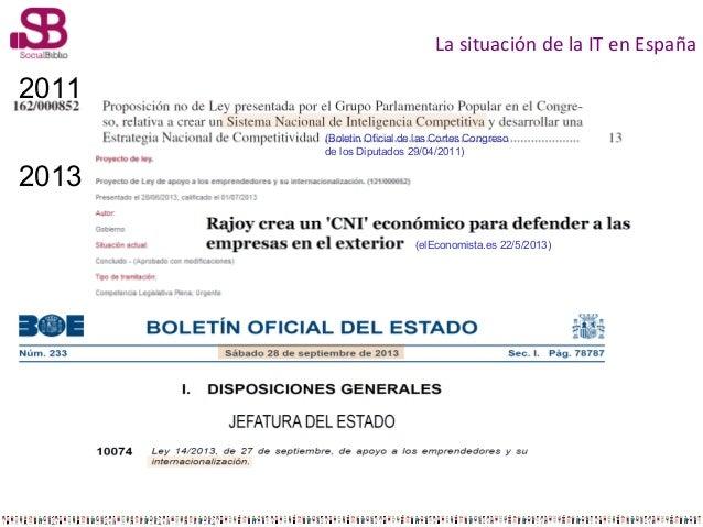 La situación de la IT en España  2011 (Boletin Oficial de las Cortes Congreso de los Diputados 29/04/2011)  2013 (elEconom...