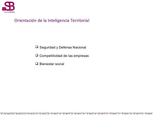 Orientación de la Inteligencia Territorial   Seguridad y Defensa Nacional  Competitividad de las empresas  Bienestar so...