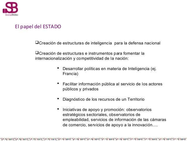 El papel del ESTADO Creación de estructuras de inteligencia para la defensa nacional Creación de estructuras e instrumen...