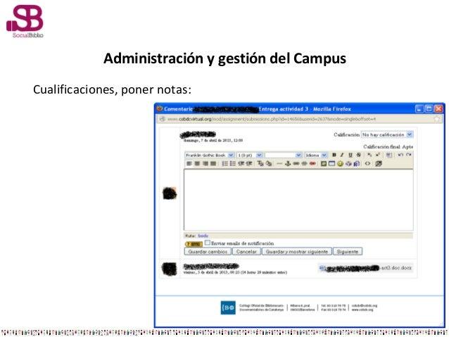 Administración y gestión del CampusCualificaciones, poner notas: